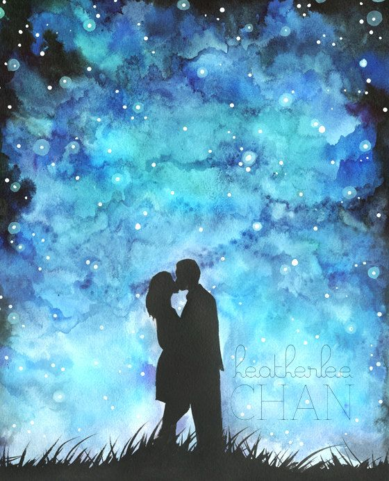 Starry Night Sky and Lovers Watercolor Art by ladypoppins