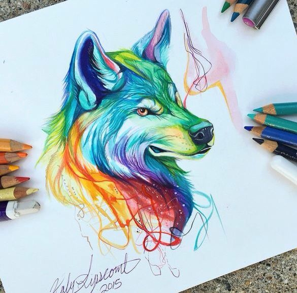 #Dessin #Wolf #Colorful