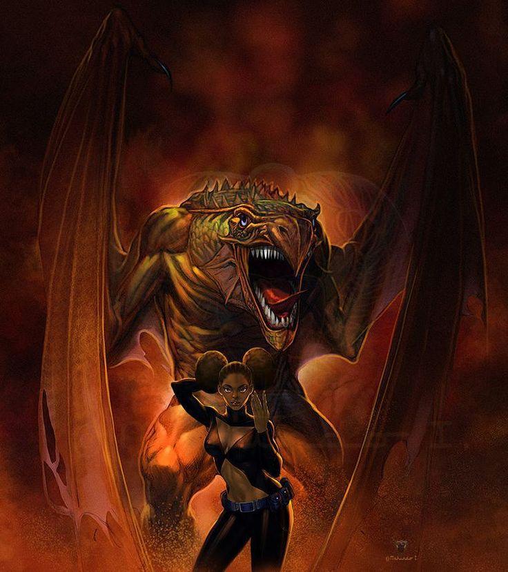 """Dyana And Her Dragon"" illustrated by Mshindo Kuumba. . . #dragon #dragons #drachen #fantasyart #fantasy #naturalhair #naturalista #art #arte #artwork #artoftheday #illustration #illustrator #painting #digitalart #blackwomen #blackwoman #blackgirlsrock #blackgirl #blackart #afroart #africanart #nubiamancy by nubiamancy"