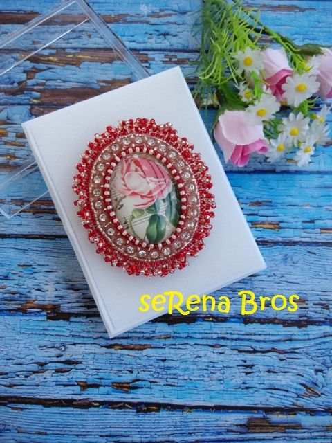 Cabochon Brooch, glassdome based. 6x7cm. PM for price