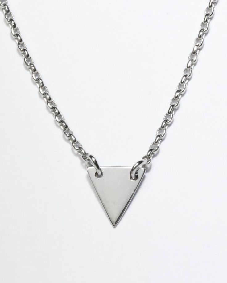 9ct solid white gold triangle necklace- handmade by Brown + Brown Jewelry.