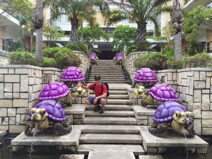 So cool glow in the dark purple turtle fountain! Grand Inna Kuta