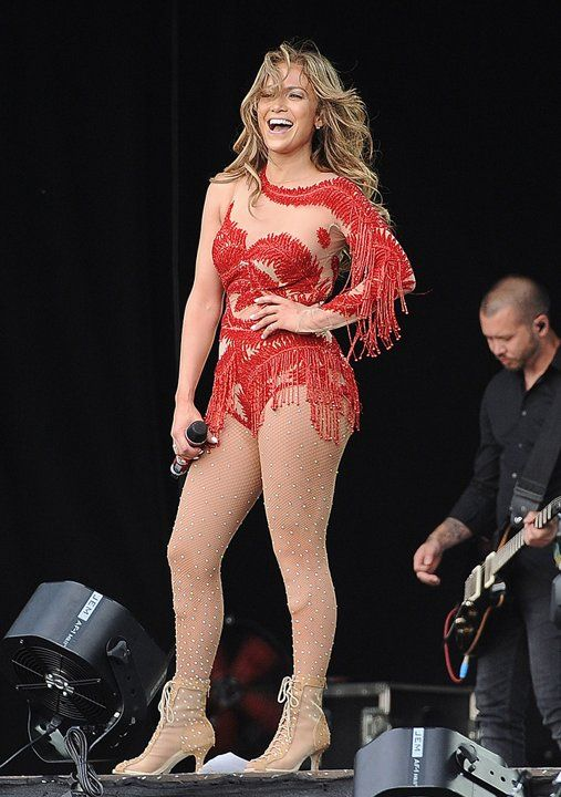 Jennifer Lopez donned yet another tacky, head-turning costume while performing at the British Summer Time concert in London's Hyde Park. Channeling her inner ice skater, the diva extraordinaire popped a pose post song (or post triple Axel) in a fringed, bejeweled bodysuit and matching ankle boots.