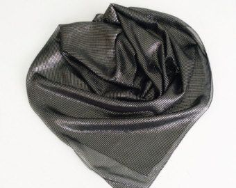 Black Silk Scarf, Silver Black head scarf Gift for Wife, Birthday Gift for Mother in law Sparkly Gift for Friend, Sparkly Striped Scarf by blingscarves. Explore more products on http://blingscarves.etsy.com
