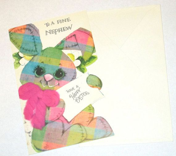 Old Vintage unused 1970'S cute pink purple blue green plaid Easter Bunny Rabbit Nephew greeing card Sangamon nice for giving or crafts cute