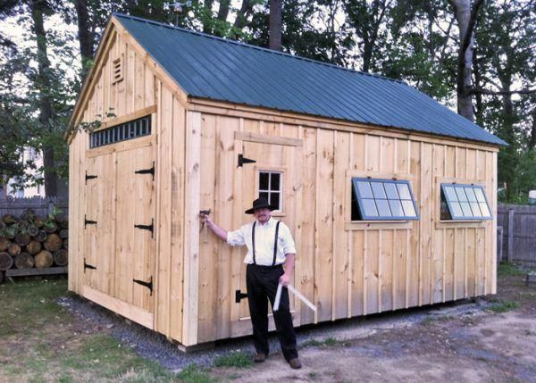 14x20 One Bay Garage Featuring A Pair Of Hinged Barn Sash Windows Shedbuildingideas Shed Build A Playhouse Shed Plans