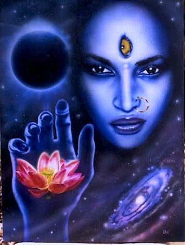 She provides moksha/ liberation to Her children. As counterpart of Shiva the destroyer, they destroy unreality. The ego sees Mother Kali & trembles with fear because it sees eventual demise. A person who is attached to his or her ego will not be receptive to Mother Kali and she will appear in a fearsome form. A mature soul who engages in spiritual practice to remove the illusion of the ego sees Mother Kali as very sweet, affectionate, and overflowing with incomprehensible love for Her…