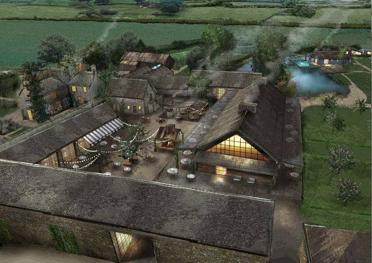 Soho Farmhouse, View of the courtyard at night - this is what we want to create at the farm