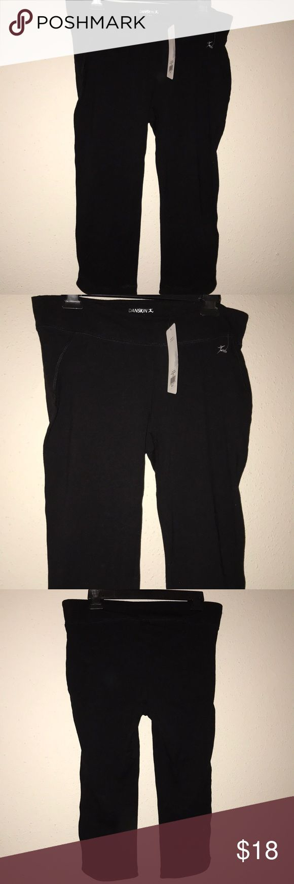 BNWT Danskin Capri leggings Brand new with tags, size large, black Danskin Capri leggings. Great for the gym, running errands, or under a shirt dress with some boots! Danskin Pants