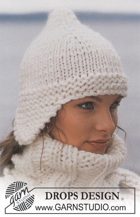 Hat in Eskimo ~ DROPS Design Free Pattern. Knitted flat.
