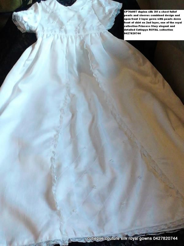 cutiepye 2 layer pearl and silk gown heirloom $400 with heirloom lace