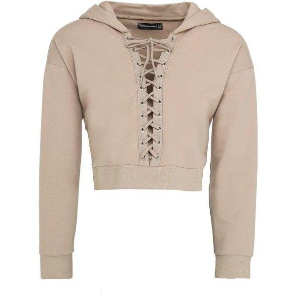 Cropped Lace-Up Hoodie Beige ($31) ❤ liked on Polyvore featuring tops, hoodies, sweatshirt hoodies, oversized hoodie, hoodie crop top, hooded sweatshirt and cropped hoodie