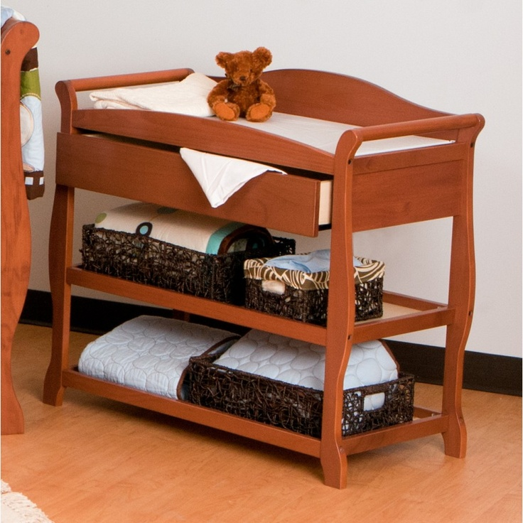 Storkcraft Aspen Changing Table With Drawer In Oak   00524 58L