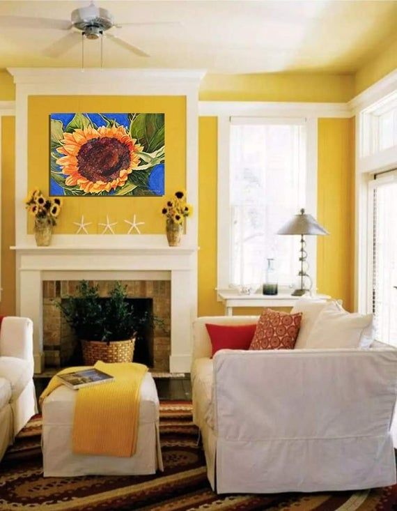 Sunflower Painting Sunflower Print Sunflower Wall Art Etsy Yellow Living Room Living Room Colors Yellow Decor Living Room #sunflower #theme #living #room