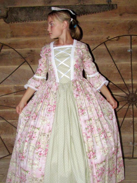 Historical Handmade Modest American Colonial Pioneer Girl -Pink Roses Colonial Ball Gown- Adult Sizes