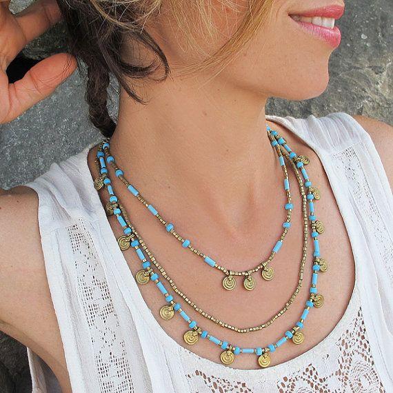 Türkis Messing Halskette, Türkis Halskette, Türkis Boho Halskette, Boho Halskette, böhmische Halskette, Boho Schmuck, böhmischen Schmuck