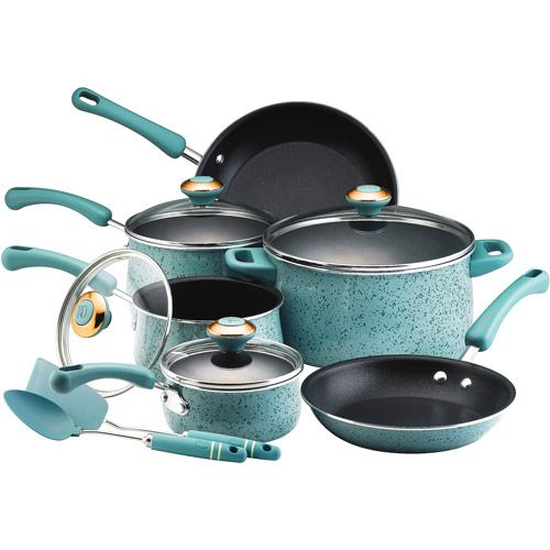 Aqua enamel 12-piece cookware set; will match our kitchen stuff great