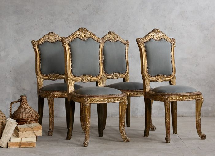 Set of 4 Vintage Louis XV Style Side Chairs. 34 best Louis XV style images on Pinterest   Antique chairs
