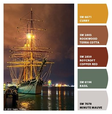 curry copper terra cotta peaches sages lavenders sophisticated bold strong grounded seafaring ships manly nautical kitchen office living room dining room Paint colors from #ChipIt by #SherwinWilliams