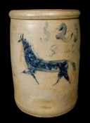 """$5750 ...Very Rare Two-Gallon Stoneware Crock with Incised Horse Decoration, Ohio origin, circa 1870, decorated with an incised running horse brushed over in cobalt slip and the number """"2"""" brushed below the rim.  H 11""""."""