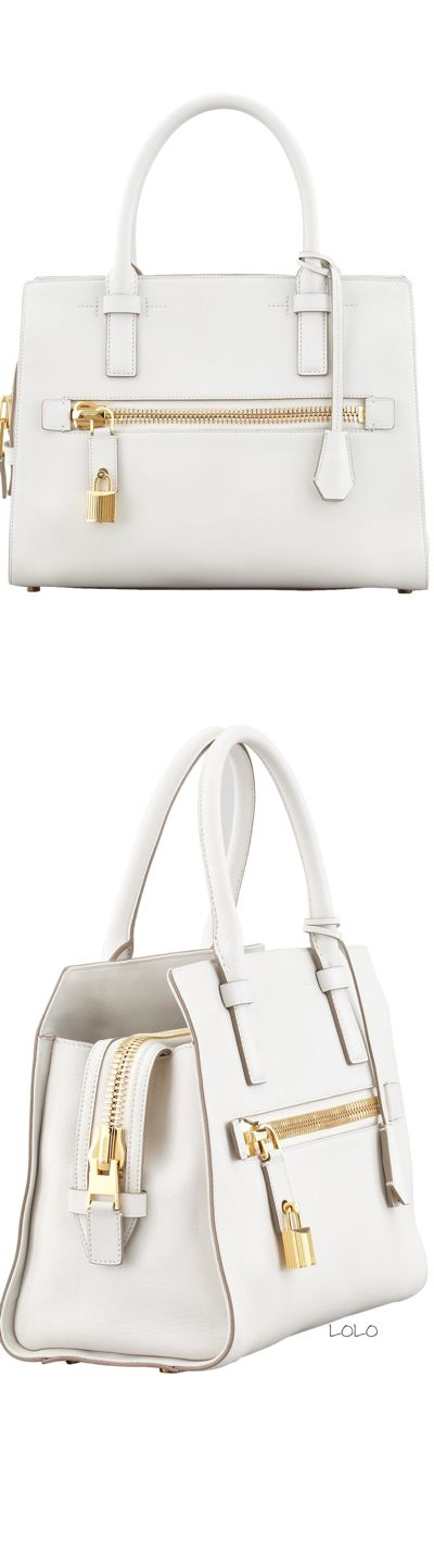 Tom Ford Charlotte Small Leather Tote Bag, White