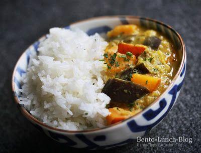 Rezept: Kokos-Bananen Curry mit Kürbis, Aubergine & Linsen - Bento Lunch Blog - Japan, Kochen & mehr
