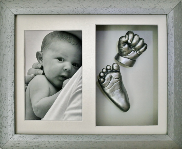 Casting done of a baby's hand and foot