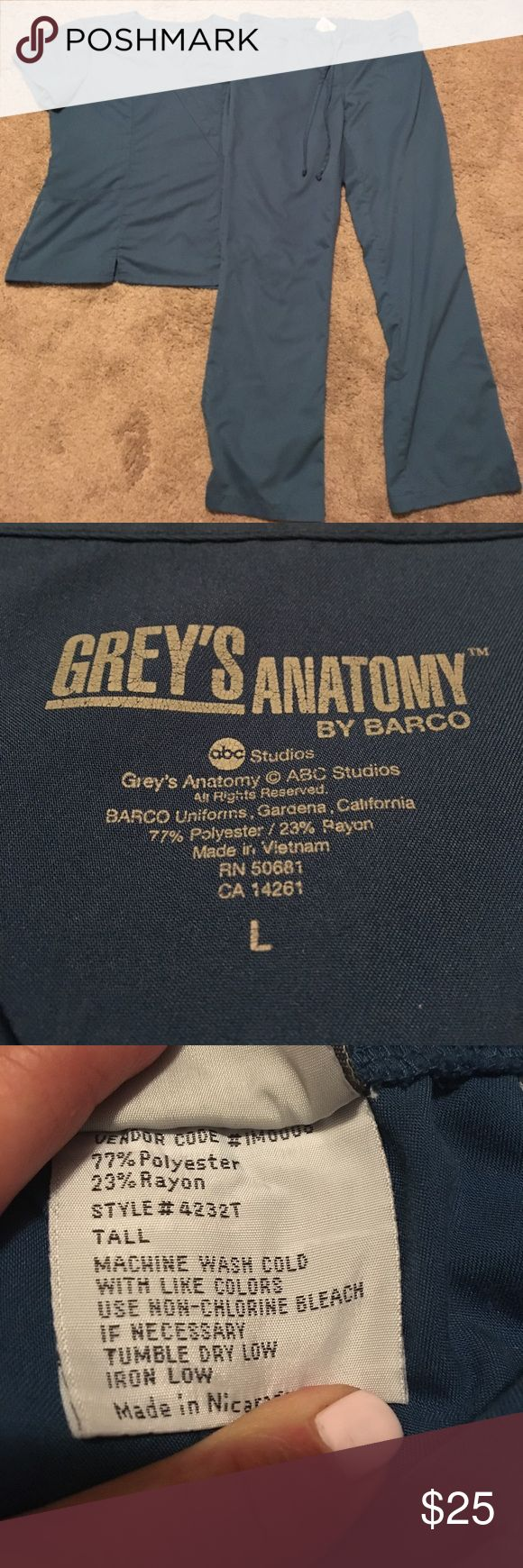 Grey's Anatomy size large tall scrub set Grey's Anatomy size large two piece scrub set top is size large pants are size large tall see all of our other scrubs would love to bundle and save you money grey's Anatomy Pants