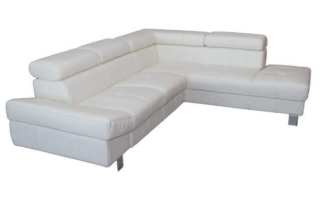 Bőr ülőgarnitúra fehér színben, ágyazható funkcióval - Ülőgarnitúra