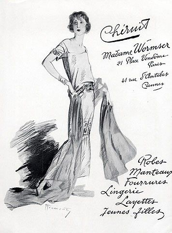 Chéruit (Madame Wormser) 1923 Evening Gown, Fashion Illustration, Marcel Fromenti, Illustrator