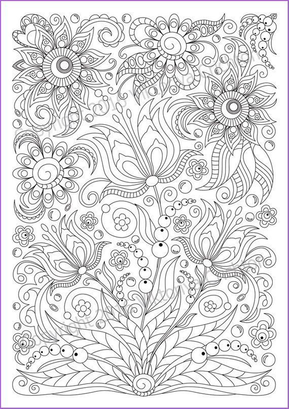 Soloring Page Doodle Flowers Printable For Adults Zen Doodle Etsy Coloring Pages Coloring Books Flower Doodles