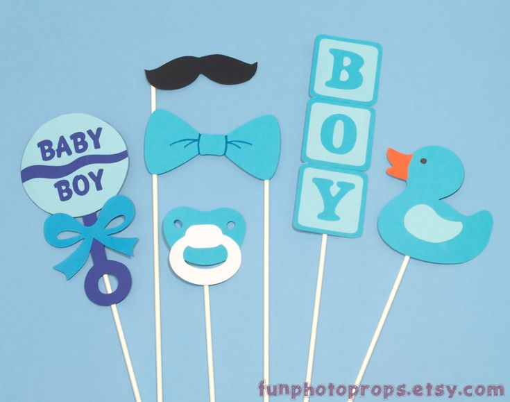 Photo Booth Prop Set  6 Piece Baby Boy Photobooth