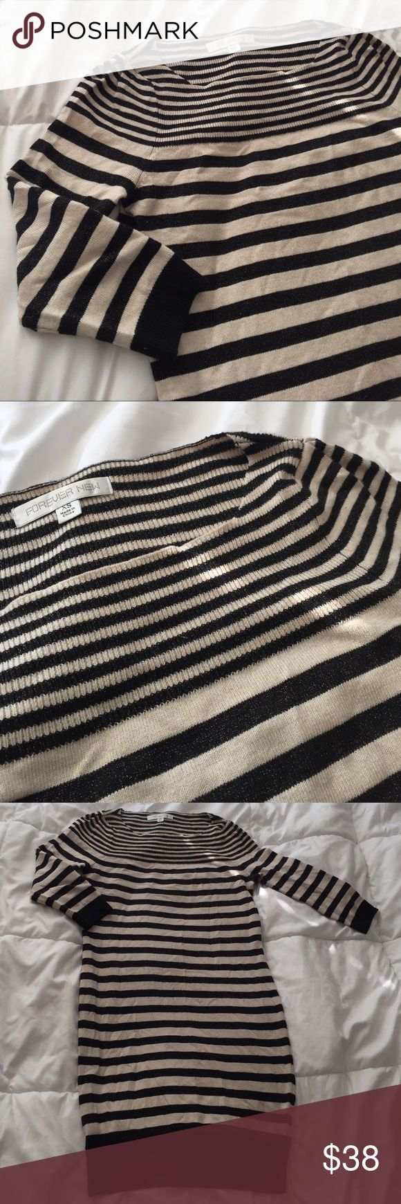 Aus brand lured stripe knit sweater dress Australian brand forever new, knit/ sweater dress. 3/4 sleeve feature and lured stripe throughout. Size xs will fit size small Forever New Dresses