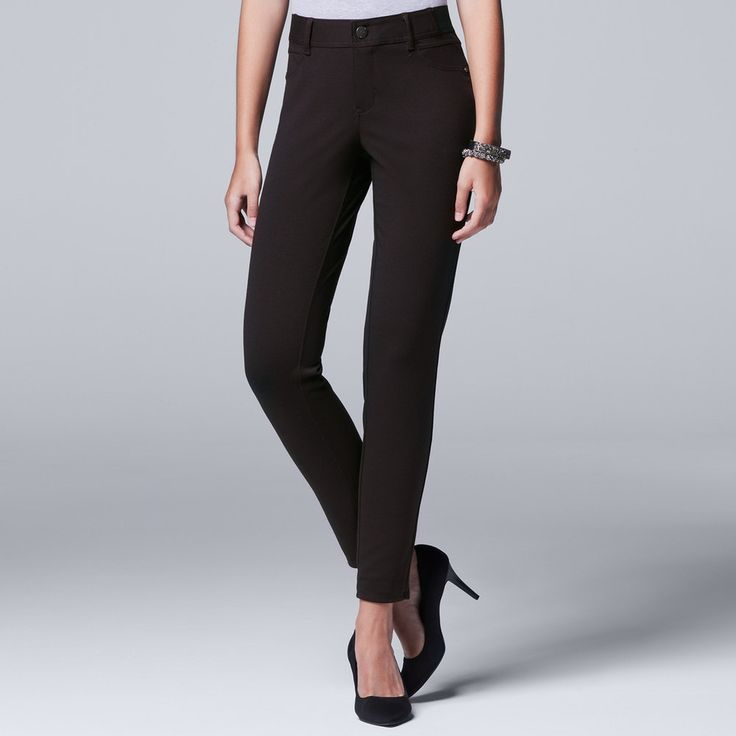 Petite Simply Vera Vera Wang Skinny Ponte Pants, Women's, Size: Xl Petite, Dark Brown