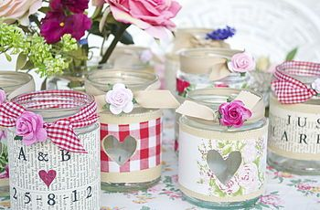 Personalised Recycled Jam Jar Candle Holders- just pic for reference - can buy these off Not on the High Street