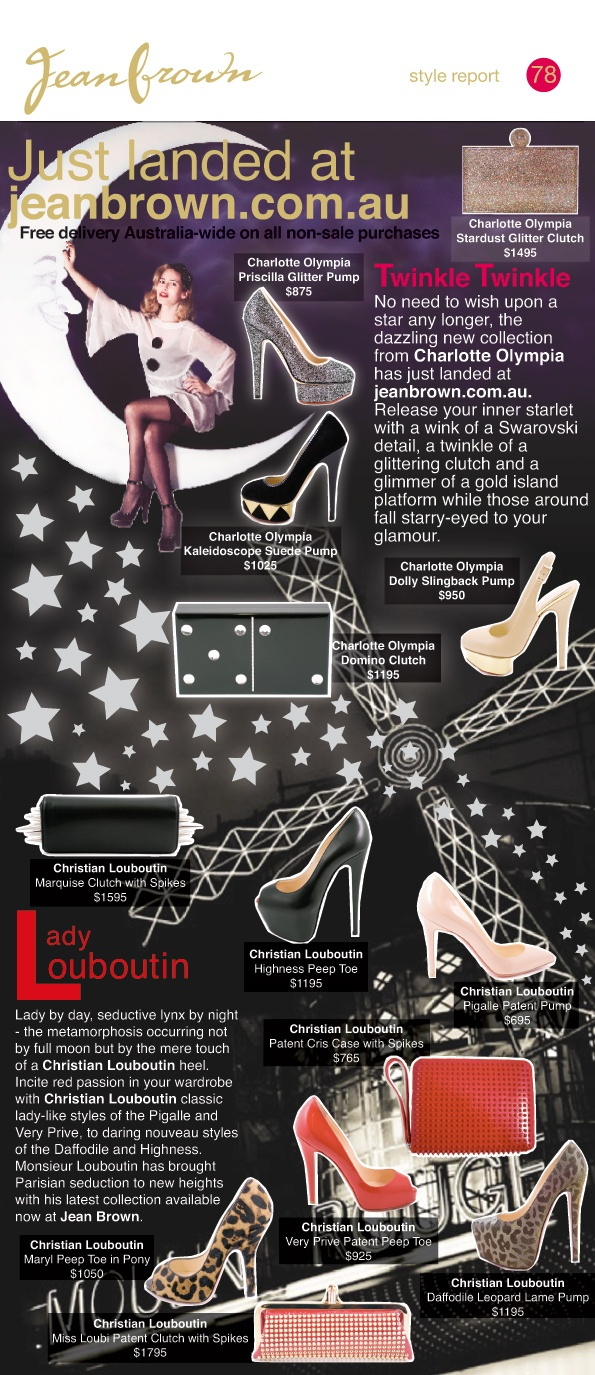 SR 78 - #Charlotte_Olympia and #Christian_Louboutin just landed at jeanbrown.com.au. #stars #Paris #accessories #Jean_Brown #moulin_rouge