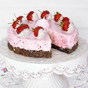 Ljuvlig jordgubbscheesecake och kladdkaka