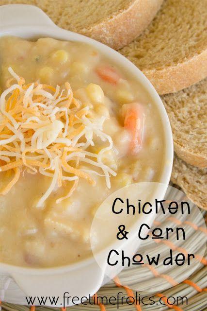 Cheese Chicken Corn Chowder Recipe via Free Time Frolice #recipe #chowder {www.freetimefrolics.com}