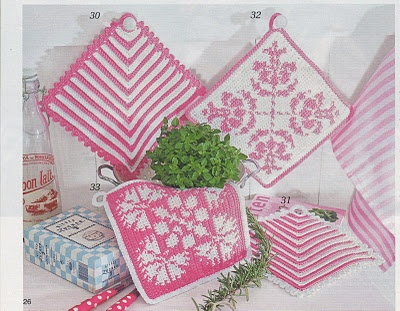 The striped are crochet, but are the floral crochet or knit -- not sure from the photo.