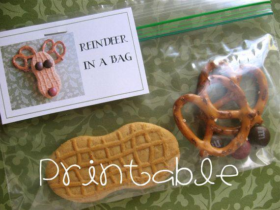 Printable PDF Reindeer in a Bag Christmas Gift by sweetmellyjane, $2.00