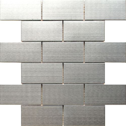 Stainless Steel Subway Tile 2 inches x 4 inches for interior application such as kitchen backsplash. This product is sold by the sheet. Each sheet measures 12 inches x12 inches.