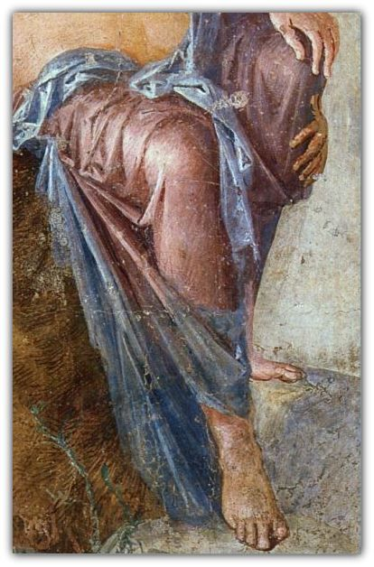 Fresco depicting Io welcomed in Egypt by Isis (detail) - 1st century AD | Museo Archeologico Nazionale (Naples)