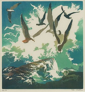 """✨ Eva A. Watson (American, 1889-1948) """"Gulls and Rocks,"""" c. 1925, color linocut, 9"""" x 8.25"""", pencil signed and numbered"""