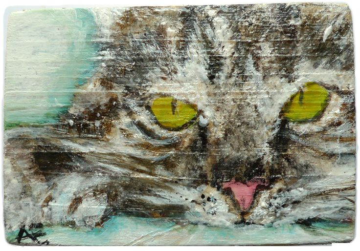 "tierportrait cat ""tischör"" 8 x 5 cm on wooden cube"