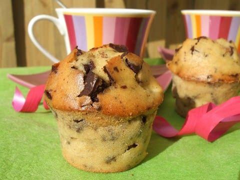 Muffin moelleux poire chocolat sans beurre et sans gluten