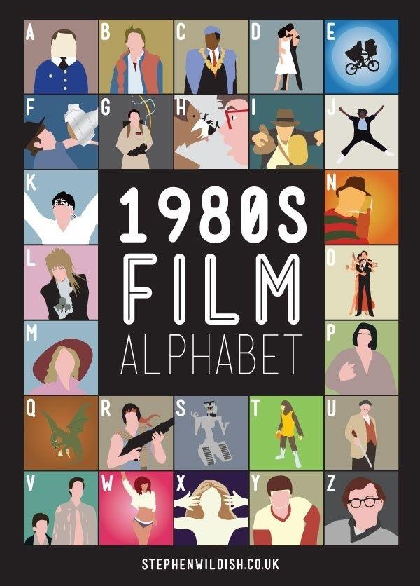 movies-movies-movies: 80S Movie, Filmalphabet, 1980 S Film, 80 S Movie, Alphabet Poster, Movies, Stephen Wildish, 1980S Film, Film Alphabet
