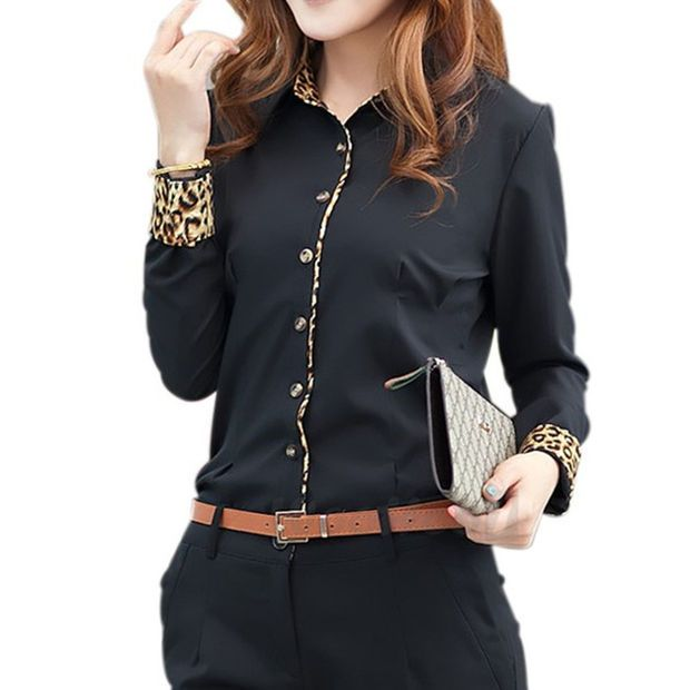Fashion Business OL Lady Women Shirt Contrast Leopard Patchwork Long Sleeve Button Tops Blouse Black