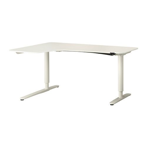 BEKANT Corner desk left sit/stand - white - IKEA