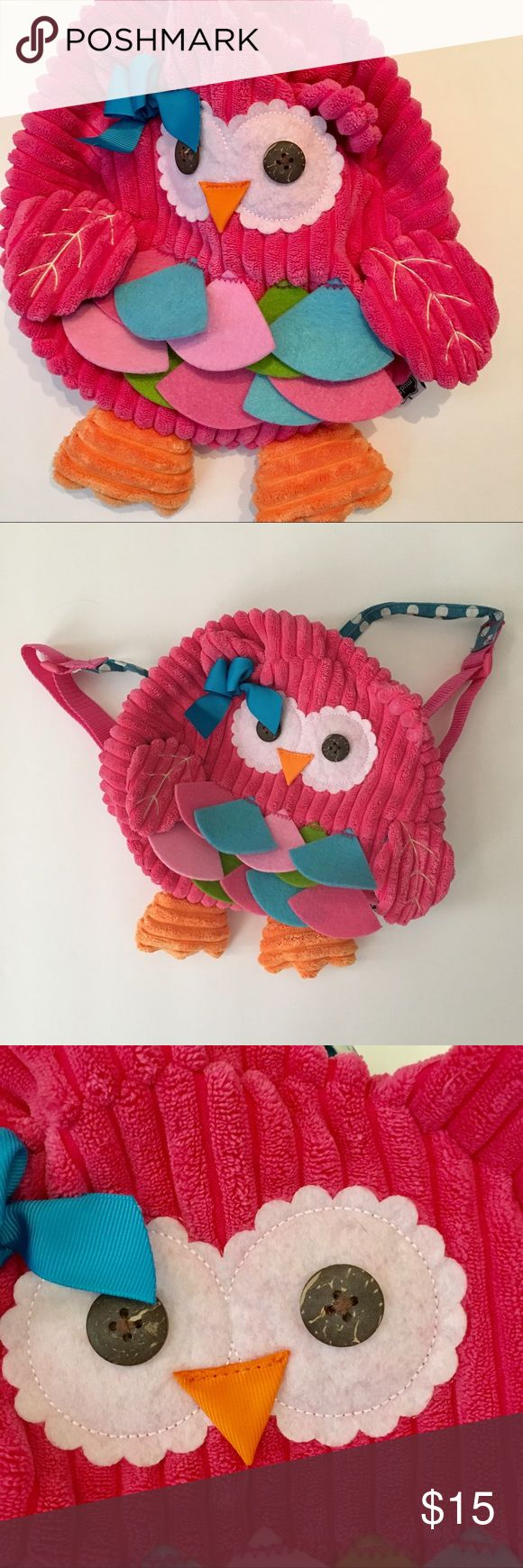Mud Pie Toddler Girls Fabric Owl Backpack Mud Pie Toddler Girls Backpack. This little Backpack is utterly adorable!!! This buttery soft Backpack is made of jumbo wale corduroy in bright pink. The eyes are wood buttons. The beak and feathers are of brightly colored felt! Underside of wings, and straps are in turquoise and white polka dot cotton fabric. Zips around the top for holding a few essentials. Machine washable. It's clean inside and out and in good pre-owned condition. Smoke free…