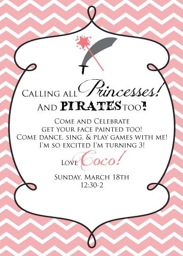 91 best kids pirate party ideas images on pinterest events boys princess and pirate party invitation stopboris Choice Image